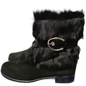 Stuart Weitzman Fur Pouf Black Sport Boots